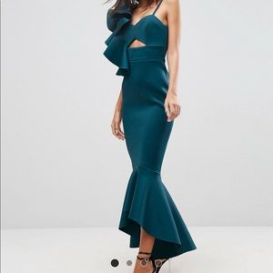 One shoulder pephem scuba maxi dress